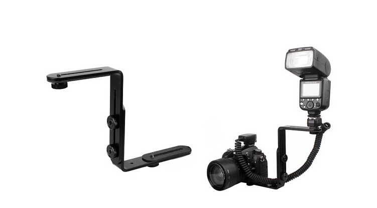 Photo Studio Accessories Universal Adjustable Dual-L Flash Bracket Stand Support Holder for DSLR Camera