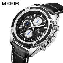 Megir cronógrafo original hombres reloj militar multifunción reloj de cuarzo marca de fábrica superior de cuero deporte masculino relojes relogio feminino