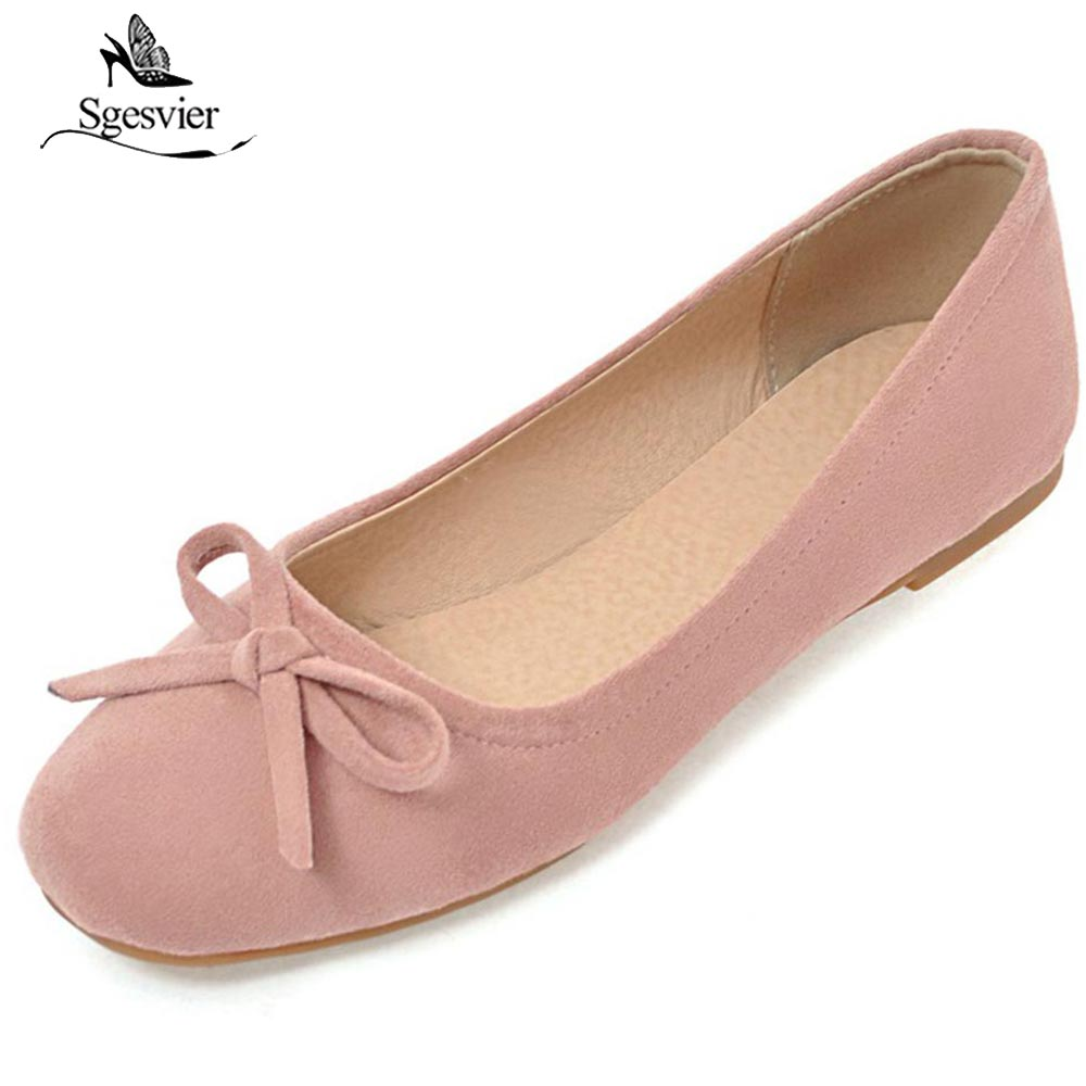 SGESVIER Size 34-43 New 2018 Spring Women Flats Shoes Women Shoes  Fashion Round Toe Slip-on Casual Shoes Black Pink Beige OX231 hot sale 2016 new fashion spring women flats black shoes ladies pointed toe slip on flat women s shoes size 33 43