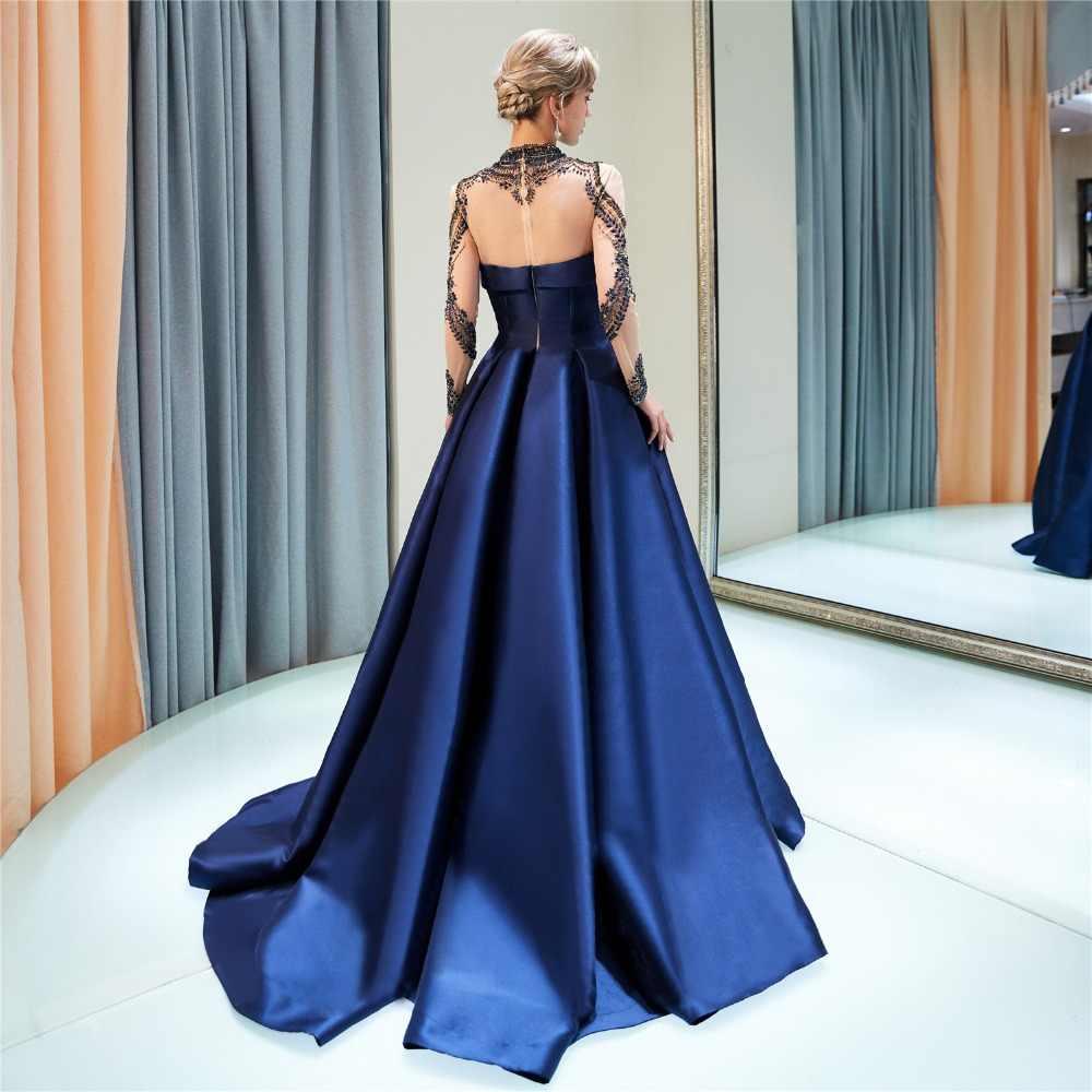 JaneVini Sang Trọng Đính Cườm Pha Lê Dài Tay Áo Phù Dâu Váy MỘT Dòng Cao Cổ Illusion Lại Satin Prom Đảng Gowns Sweep Train