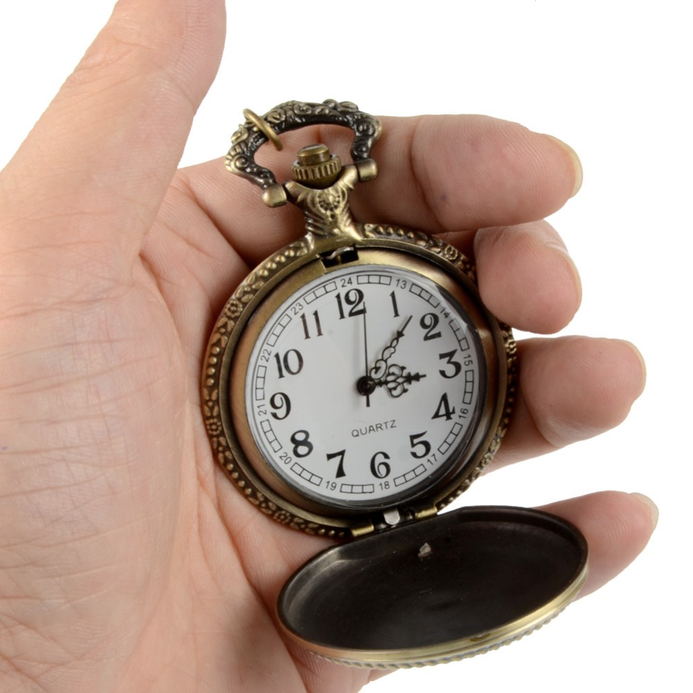 Retro Bronze Quartz Pocket Watch Steampunk Clock Watches With Marine Corps Necklace Watches Mens Christmas Gifts