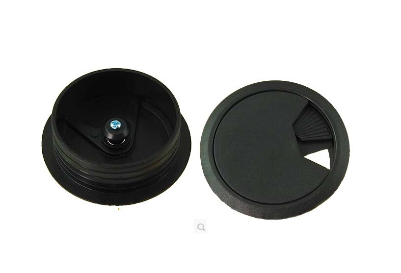 60mm Black PC Computer Desk Table Plastic Grommet Cable