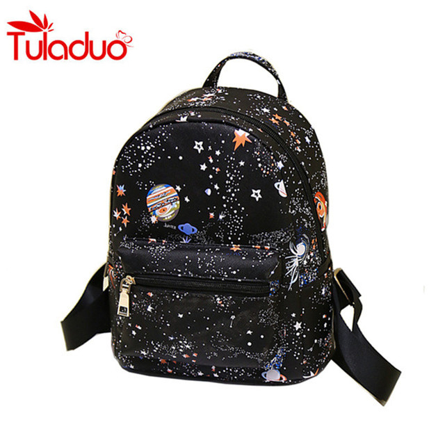 59c84410ee Cheap Backpack Universe Space Printing Canvas Backpack Black School Bags  For Teenage Girls Small Backpacks Women Mochila Escolar