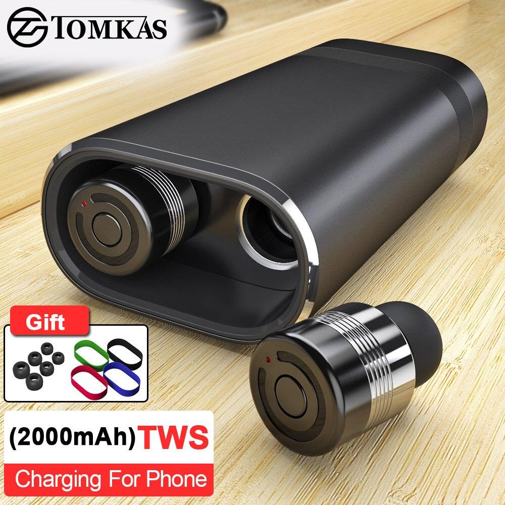 TOMKAS casque sans fil Tws Bluetooth écouteurs véritable stéréo écouteurs Sport casque avec 2000 mAh batterie externe pour iPhone Xiaomi