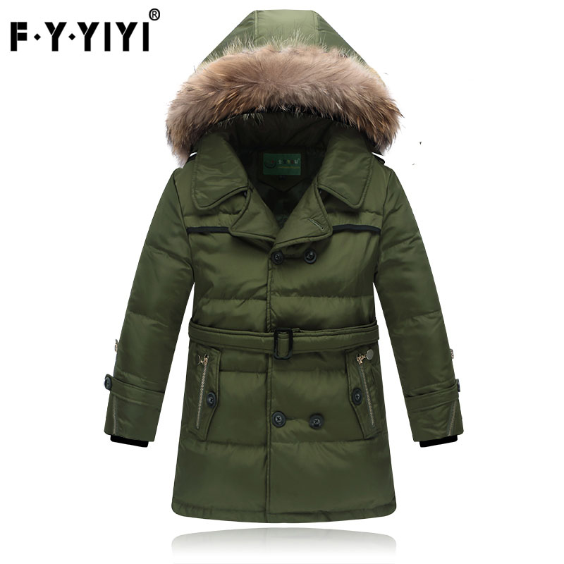 New boy down jacket Thickened down jacket Medium and long Winter winter True wool collar цена