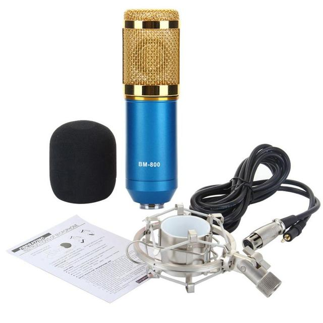 Adroit 1PC Fashion Blue Color Wired Condenser Sound Recording Microphone with Metal Shock Mount to Sing Karaoke PC Laptop FEB3