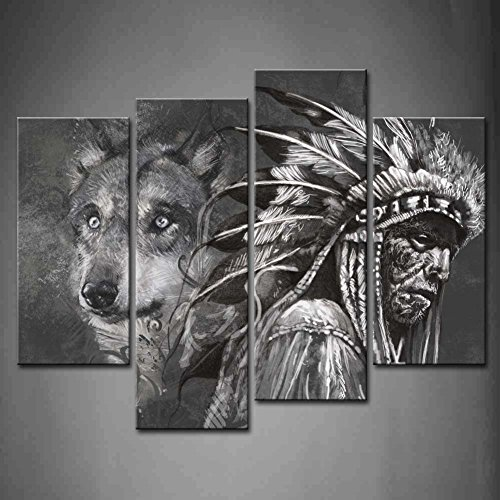 Banmu 4 panel wall art black and white wolf and indians for Black and white mural prints