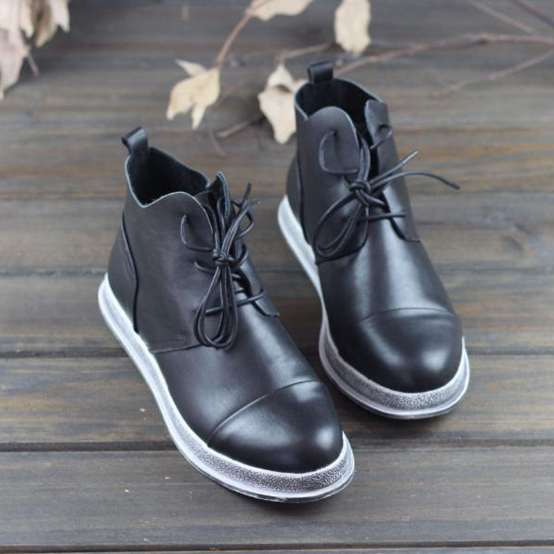 Women's Boots Ankle Boots 100% Genuine Leather Ladies Ankle Boots Round Toe Lace Up Autumn Woman Booties(1128-1)