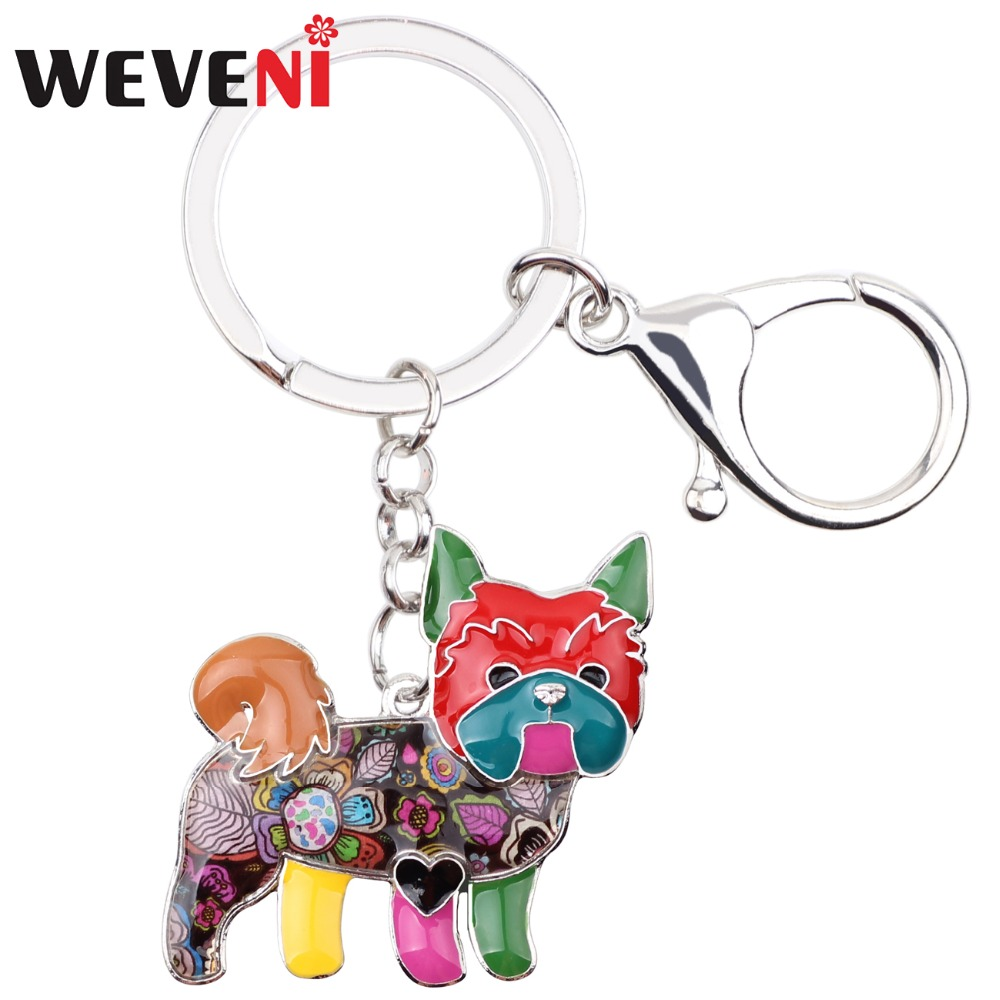 WEVENI Metal Yorkie Yorkshire Dog Key Chain Key Ring Bag Charm Car Key Holder 2017 New Enamel Keychain Jewelry For Women Bijoux