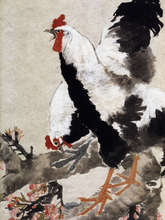 Top 100 traditional Chinese painting canvas prints home decor Flowers scenery art 2 roosters and peach blossom by Ren Bonian
