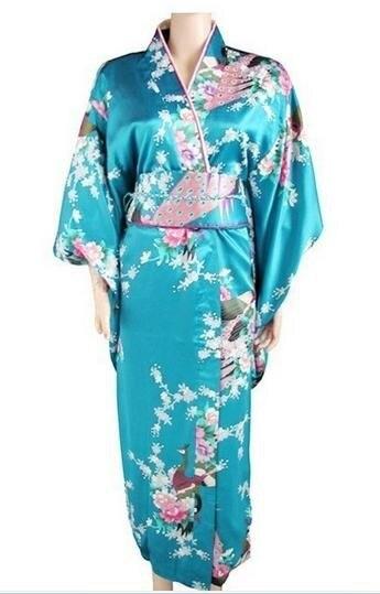 Yeni Işık Mavi Japon kadın İpek Saten Kimono Haori Vintage Orijinal Gelenek Kostüm Yenilik Abiye Bir boyut H004