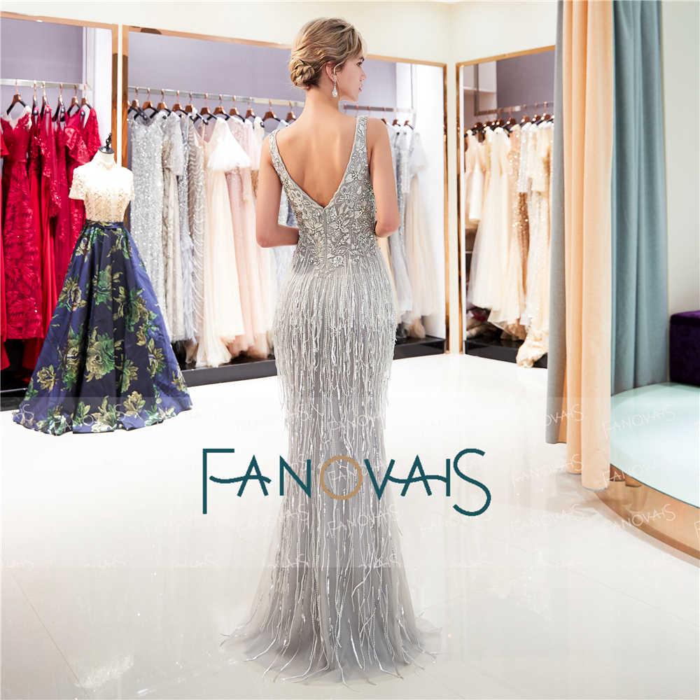 Sexy Silber Meerjungfrau Abendkleider Lange 8 V-ausschnitt Schwere  Perlen Prom Kleider Quasten Abendkleid Robe de Soiree QS8