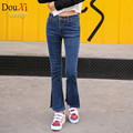 2017  autumn and winter large size women jeans female elastic waist jeans straight waist Slim stretch denim jeans