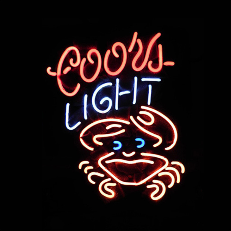 NEON SIGN For COORS LIGHT CRAB Signboard REAL GLASS BEER