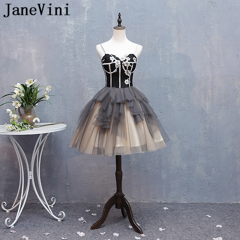 JaneVini Sexy Black Short Prom   Dresses   Girls Teens Tulle Spaghetti Straps   Bridesmaid     Dresses   Sweetheart Summer Party Gowns 2018