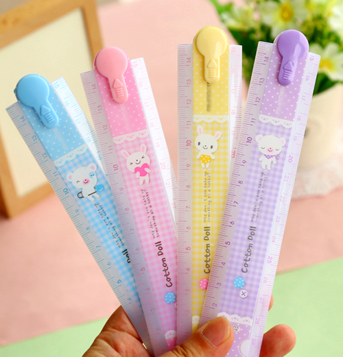 1pc/lot Ute Plastic Ruler Candy Color Folding Rulers For Kids 30CM Long Lovely Stationery (SS-1647)