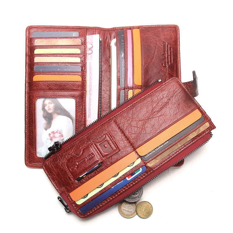 CONTACT'S Women Wallet Female Clutch Patchwork Genuine ...