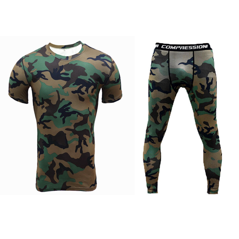 FDWERYNH Фитнес Для мужчин комплекты одежды шорты Camouflage Compression Футболки Леггинсы Для мужчин быстросохнущая короткий рукав Футболка; одежда