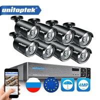 8CH 4MP POE IP Camera CCTV Surveillance System Kit Waterproof IP66 With 8Pcs 48V POE Bullet Cam NVR System P2P Cloud APP XMEye