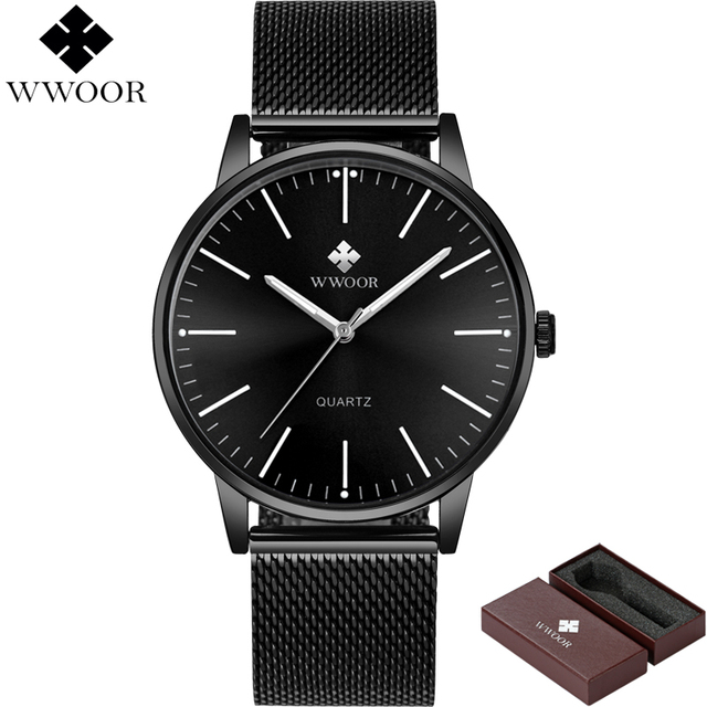 WWOOR Brand Luxury Mens Waterproof Ultra Thin Quartz Watch Men Stainless Steel Mesh Band Slim Clock Male Sport Wrist Watch Black