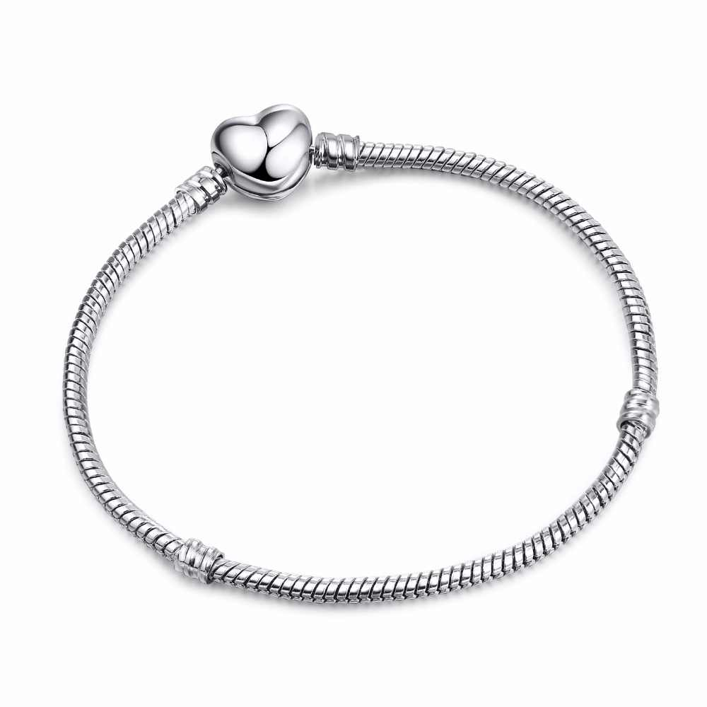 198664ae3 ... High Quality 17-21cm Silver Snake Chain Link Bracelet Fit European Charm  Pandora Bracelet for ...