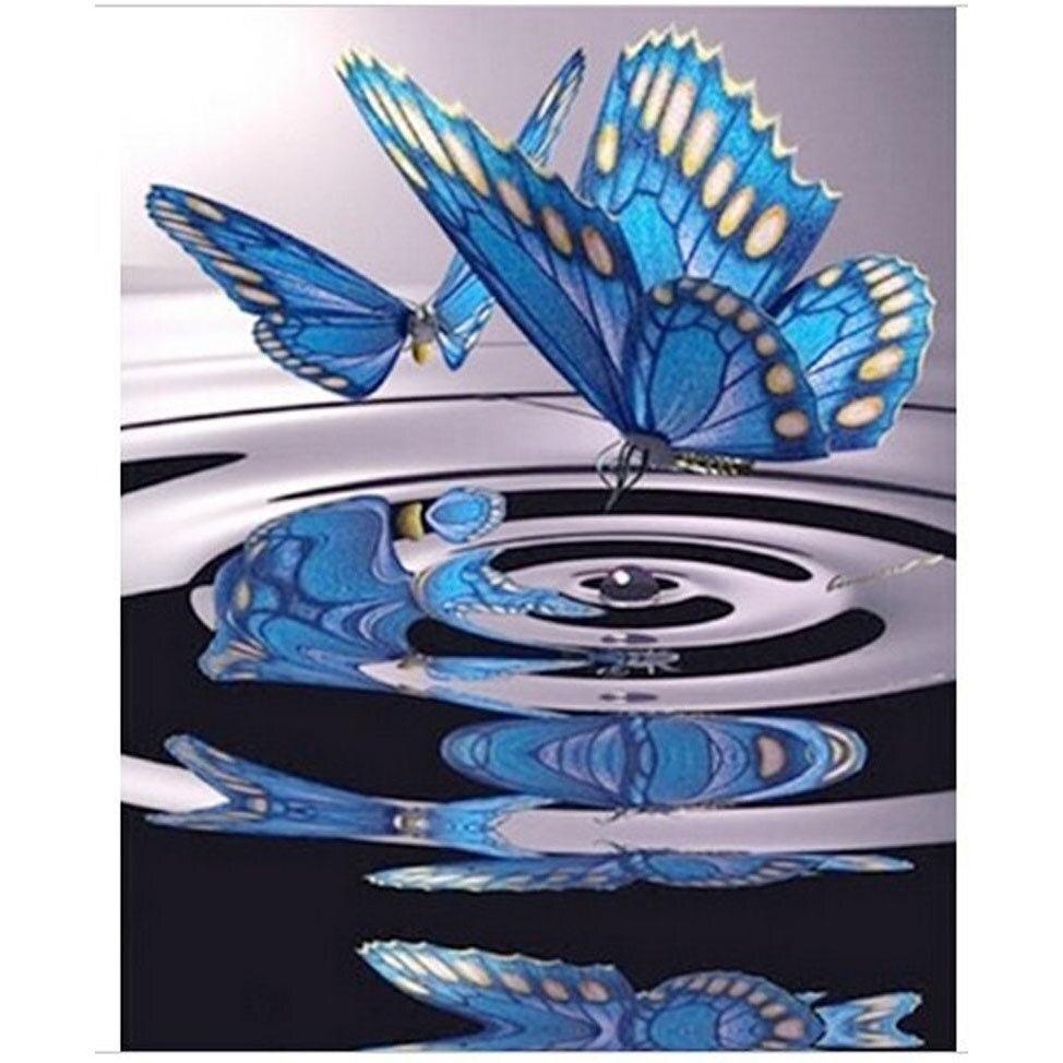 ჱBordado perlas 3D mariposa agua diamante bordado tarjetas diamante ...