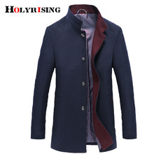Holyrising Men Abrigo Hombre Wool Stand Collar Male Peacoat Single Breasted Woolen Coats Warm Wool & Blends Man Overcoat 18569-5(China)