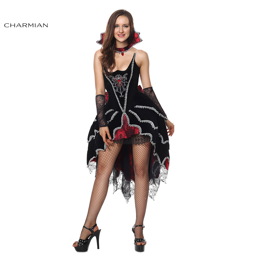 Charmian Sexy Women Gothic Vampire Costume Adult Medieval Evil Queen Halloween Cosplay Costume Fantasias Carnival Costume Dress