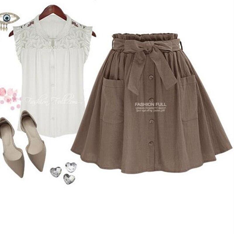 Hzirip wanita rok vintage pinggang tinggi saku padat busur sabuk midi - Pakaian Wanita - Foto 4