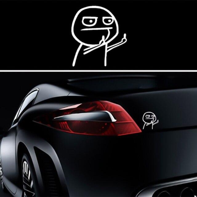 Engraçado Dos Desenhos Animados Dedo Médio Car Auto Adesivo Laptop Motocicleta Decalque Decor