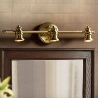 Настенная лампа, фары для ванной, светодиодная зеркальная лампа, простой зеркальный шкаф, лампа для ванной комнаты, медная лампа, Ретро Медн
