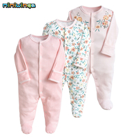Mimiwinga 3PCS /Lot Baby Girl Footies Spring Autumn 2019 NewBorn Clothes Infant Pink Long Sleeve 100% Cotton Jumpsuits Floral
