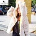 [HONGZUO] корейский Стиль 2016 Зима Теплая Искусственного Меха Пальто с Капюшоном Кроличьи Уши Белый Причинно Меховая Куртка Куртка PC047