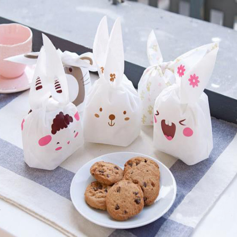New Cute Cartoon Rabbit Ear Design Biscuit Package Bag Portable Moisture Proof Plastic Candy Boxes Wedding Party Food Gift Bag