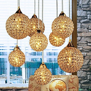 Golden LED Modern Crystal Pendant light Lamp with 8 Lights For Living Dining Room ,Luminaire Lustres De Sala Cristal 4 lights led modern k9 crystal pendant light for dining room parlor luminaire lustre de cristal e14 bulb included
