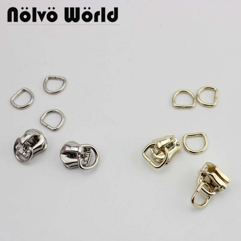 100sets #5 Metal Teeth Zipper Head Plus 8X7mm D Ring Clothing Bag Purse DIY Accessory Zipper Sliders Zips Ends
