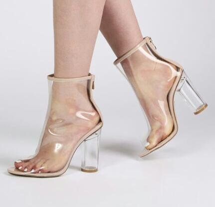 Corto as As Picture Ladies Moda Botines 2018 Pvc Lluvia Peep Estilo Toe Caliente Verano Sexy Heel Libre Nueva Transparente Botas Chunky Mujeres Picture qxRxwH1