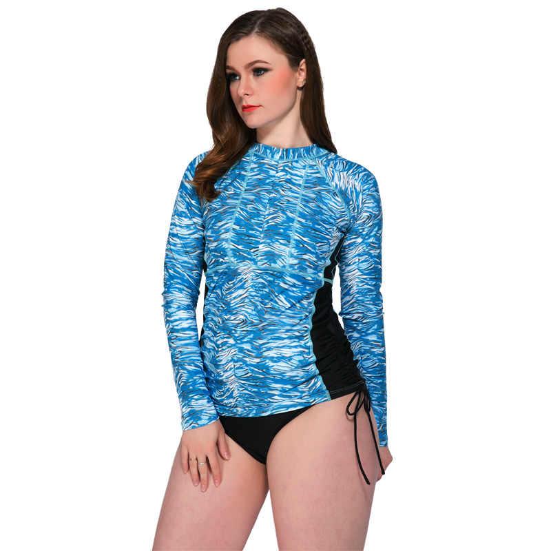 Wanita Floral Lengan Panjang Surf Ruam Penjaga Menyelam Pakaian Atasan Wanita Beach Surf K Berlaku Baju Renang Plus Ukuran XX-8851