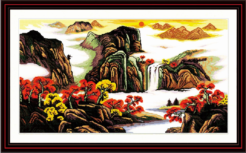 Treasure bowl cross stitch kit Chinese mountain river count print 14ct 11ct hand embroidery DIY handmade needlework supplies bag