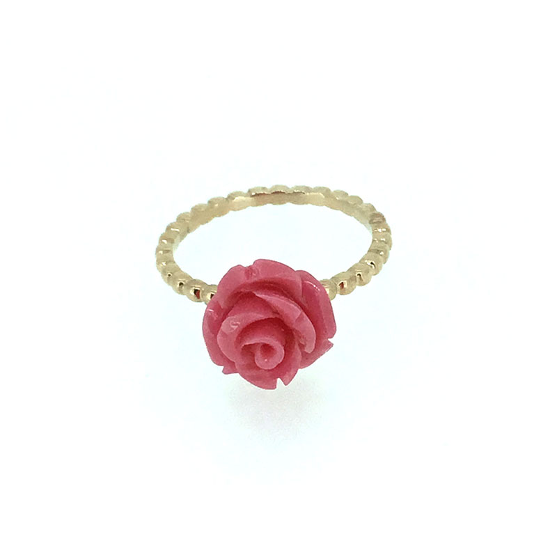 ANI 18K Rose Gold AU750 Women Wedding font b Ring b font Natural Coral Flower Fashion