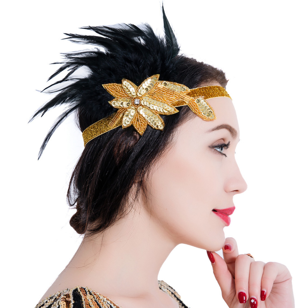 1920s Women Vintage Feather Headpiece Great Gatsby Art Deco Sparkly Headband Hair Accessory for Prom Theme Party headpiece