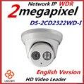 Atacado Inglês Versão DS-2CD2322WD-I IP Câmera de 2MP 1080 p mini dome Câmera de Rede IP IR POE cctv câmera de 2.8mm