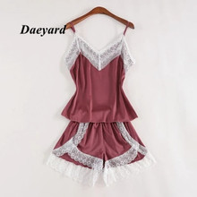 Daeyard Silk Pajamas For Women With Shorts Sexy Lingerie Lace Trimmed Cami Set 2-Piece Summer Satin Nighty Sleepwear