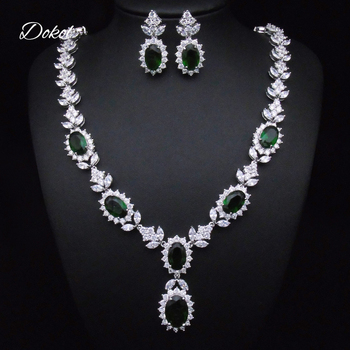 DOKOL Fashion Green Stone Women Necklace Sets Silver Color CZ Bridesmaids Jewelry Sets for Party DKS0030B