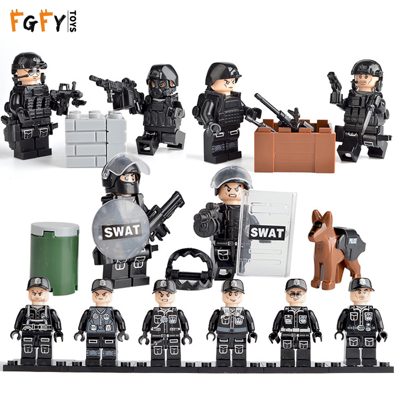 LegoING Mini Military Figure SWAT City Police Soldiers Toy Modern Commando Special Forces Weapons Building Blocks Children gift