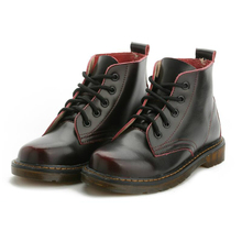 Buy LISM 2018 new women's boots autumn and winter leather large size Martin boots female British thick couple shoes directly from merchant!