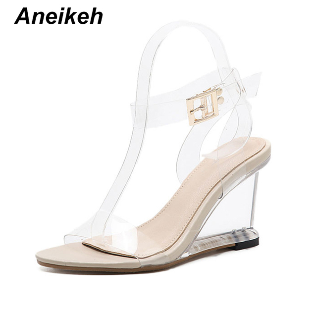 2271faa48c51 Aneikeh Crystal Shoes Women Fashion Ankle Strap High Heel Sandals  Transparent Wedges Heel 2018 Summer Gladiator Sandals 9cm