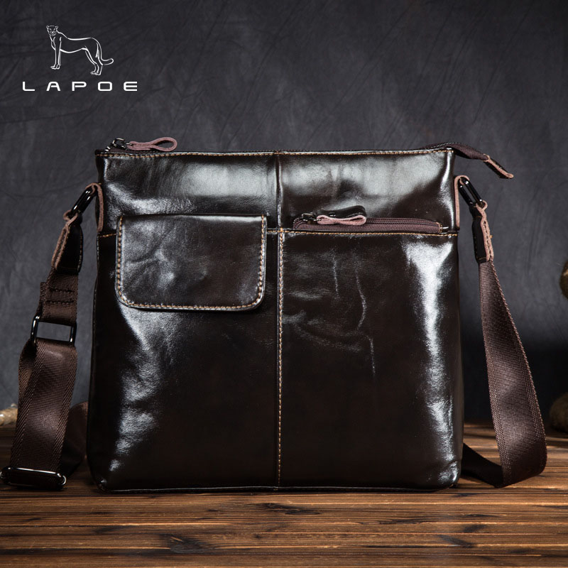 New Style Wax Leather bag Genuine Leather men Bag male Shoulder Crossbody Bags Casual Handbags Small Flap Men Messenger Bags neverout new crossbody handbag women messenger bag cover small flap bags fashion shoulder bags simply style genuine leather bag
