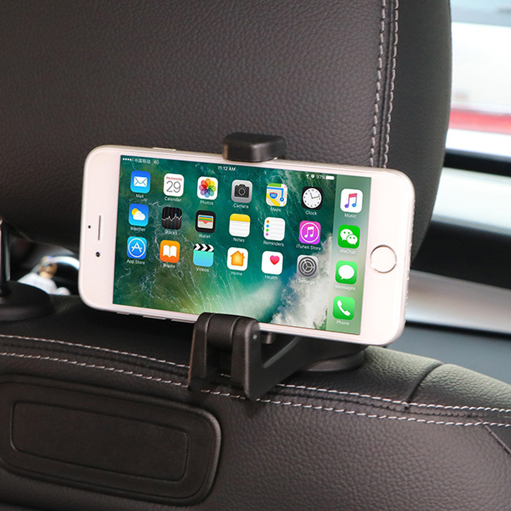 Auto Car Headrest Hooks Multi-function Seat Back Hook & Car Phone Mount Holder Fastener Seat Back Hanger Clips For Bag Handbag