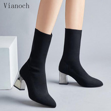 in winter a new pair of pointed boots stone grain red nightclub knighthood and the boot of the calf side zipper boots woman s Fashion New Black Sock Boots Women Pointed Toe Mid Calf Boots Shoes Winter Fur Stretchy Fabric Shoe Woman wo1808163
